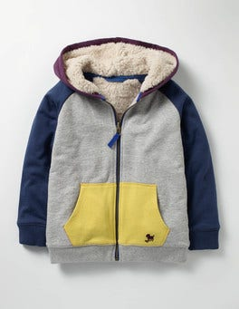 Grey Marl Colourblock Raglan Shaggy Hoodie