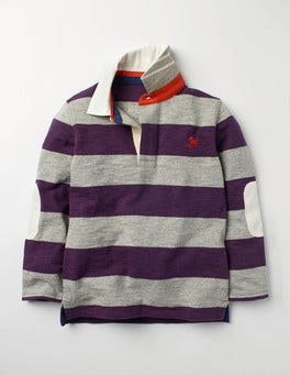 Winter Purple/Grey Marl Slub Rugby Shirt