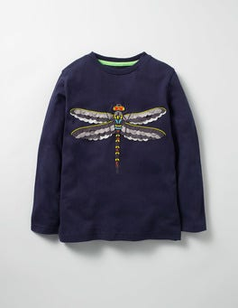 Navy Dragonfly Textured Creature T-shirt