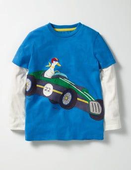 Swedish Blue Racing Car Layered Vehicle T-shirt