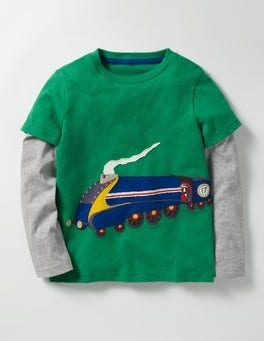 Crocodile Green Train Layered Vehicle T-shirt