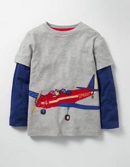 Grey Marl Aeroplane Layered Vehicle T-shirt
