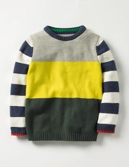 Wellington Green/Zissou Yellow Hotchpotch Crew Sweater