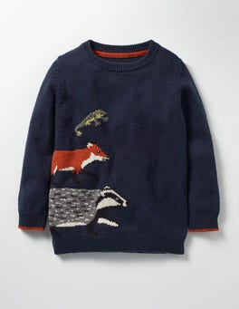 Beacon Blue Animals Wild Adventure Crew Jumper