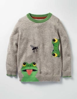 Grey Marl Frog Wild Adventure Crew Sweater