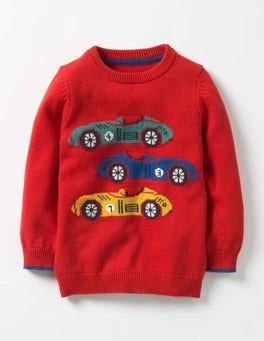 Beatnik Red Cars Wild Adventure Crew Jumper