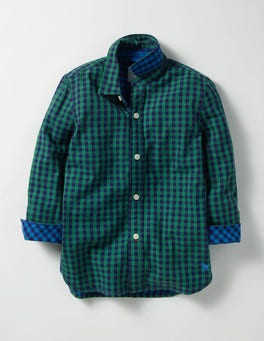 Crocodile Green/Blue Gingham Double Cloth Shirt