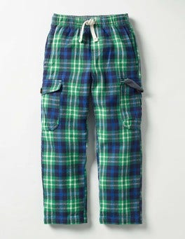Wild Green/Klein Blue Check Brushed Tartan Cargos