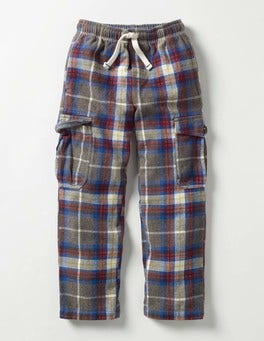 Grey Marl/Spice Check Brushed Tartan Cargos