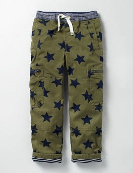 Khaki Star Lined Pull-on Cargos