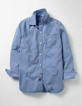 Klein Blue Mini Gingham Laundered Shirt
