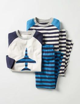 Swedish Blue Jet Twin Pack Pyjamas
