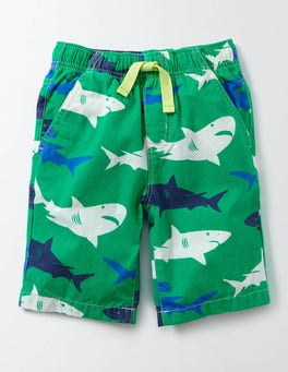 Green Shark Print Printed Board Shorts