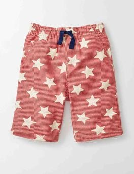 Red Star Print Printed Board Shorts