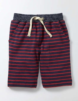 Navy Marl and Salsa Stripe Sweatshorts