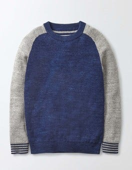 Grey Marl Simple Crew Jumper