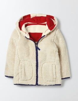 Ivory and Salsa Stripe Reversible Shaggy Hoody