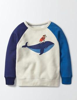 Mini Ecru Fun Coastal Sweatshirt