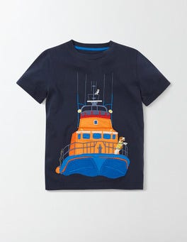 Mini Navy Big Appliqué T-shirt