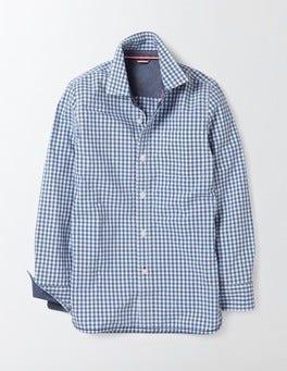 Klein Blue Mini Gingham Laundered Shirt