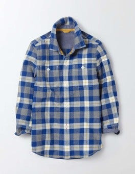 Blue and Grey Marl Check Cosy Check Shirt