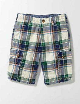 Ecru and Garden Check Cargo Shorts