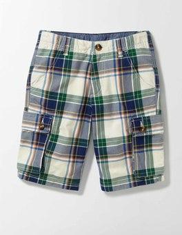 Ecru and Garden Check Cargo Shorts