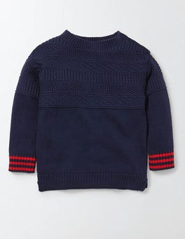 Denim Marl Guernsey Crew Sweater