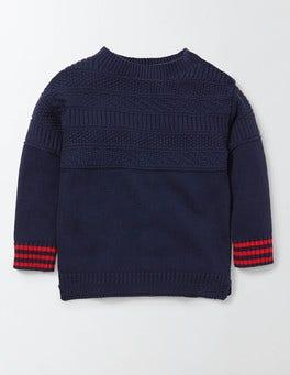 Denim Marl Guernsey Crew Sweater