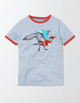 Blue Marl/ Seagull Superhero Animals T-Shirt