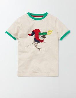 Oatmeal Marl/ Shark Superhero Animals T-Shirt