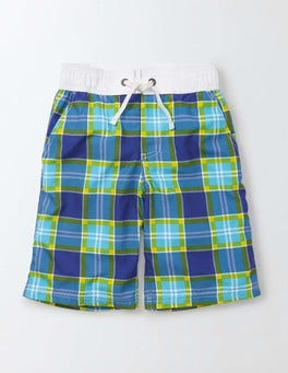 Fresh Blue Check Board Shorts