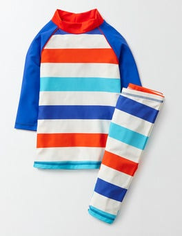 Blue and Marmalade Stripe Surf Suit