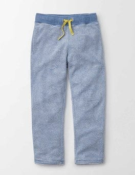 Cornish Blue and Ivory Stripe Towelling Sweatpants