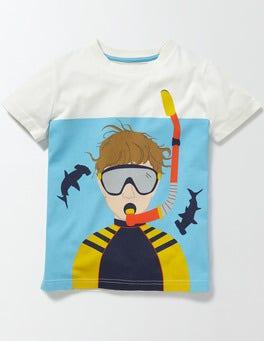 Ivory/Bateau Blue Underwater Logo T-shirt