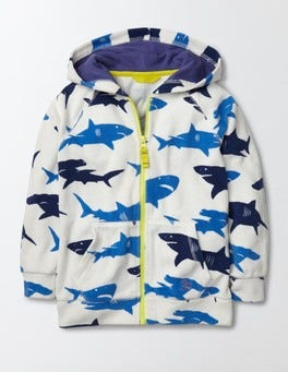 Shark Print Towelling Zip-through