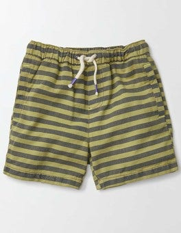 Organic Green Stripe Drawstring Shorts