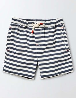 Navy/Ivory Stripe Drawstring Shorts