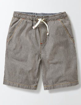 Grey Stripe Pull-on Shorts