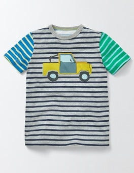 Grey Marl/Navy Stripe Hotchpotch Vehicle T-shirt