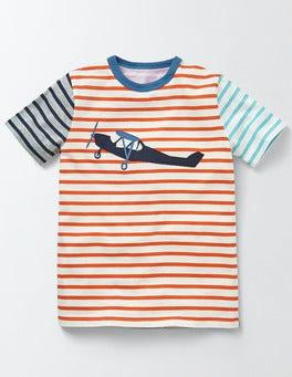 Ivory/Marmalade Orange Stripe Hotchpotch Vehicle T-shirt