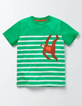 Astrogreen/Ivory Stripe Animal Stripe T-shirt