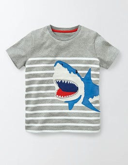 Grey Marl/Ivory Stripe Animal Stripe T-shirt
