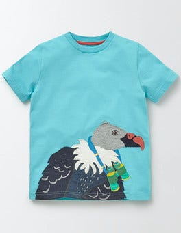 Fresh Blue Jungle Appliqué T-shirt
