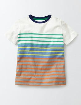 Wild Green/Yellow Multistripe Short Sleeve Stripe T-Shirt