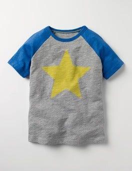 Grey Graphic Raglan T-shirt