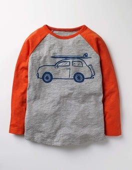 Grey Marl Car Long Sleeve Graphic Raglan