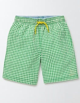 Astro Green Gingham and Star Swim Shorts