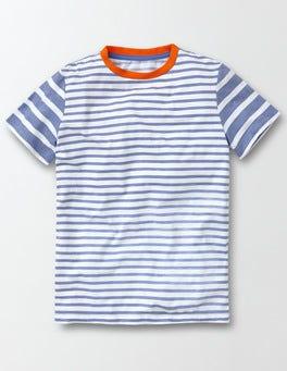 Ivory and Cornish Blue Stripe Hotchpotch Stripe T-shirt