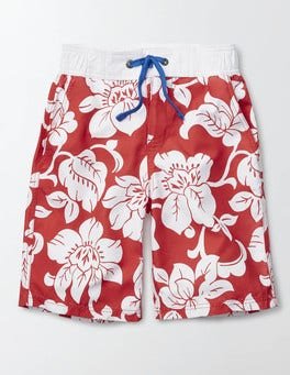 Soft Red Hawaiian Board Shorts